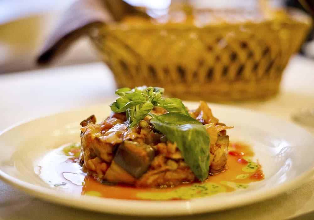 Sicilian caponata with fresh basil