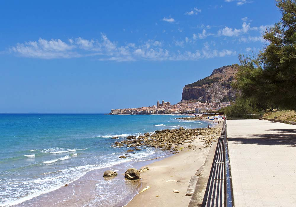 The medieval coastal town of Cefalù and the impressive rocca
