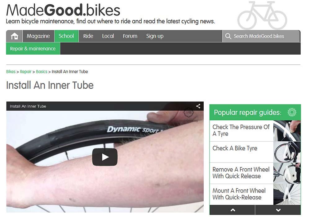 Op de website van Madegood staan handige video's over fietsonderhoud en het uitvoeren van eenvoudige reparaties.
