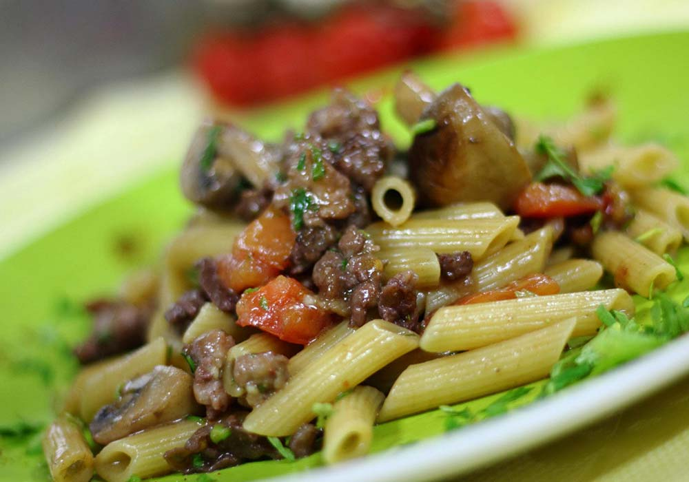 A Sicilian pasta dish in an agriturismo